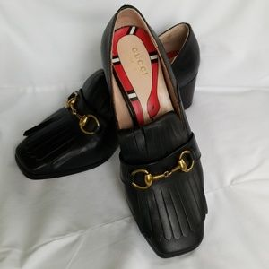 Gucci Black Leather Low Heel Loafer, Oxford.